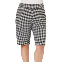 Coral Bay Plus Millennium Gingham Print Bermuda Shorts