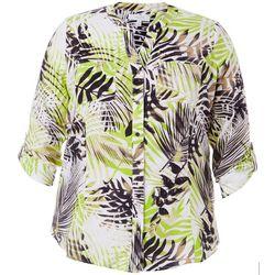 Plus Tropical Palm Print Top