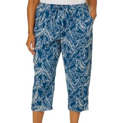 Coral Bay Plus Tropical Leaf Pull On Capris