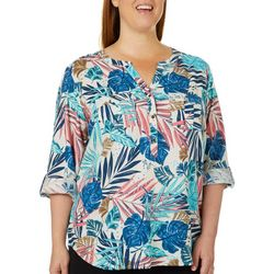 Coral Bay Plus Tropical Palm Leaf Pocket Top