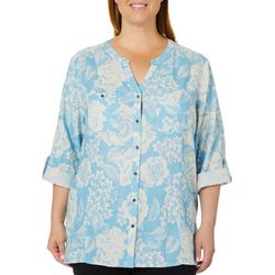 Coral Bay Plus Linen Blooming Floral Button Down Top