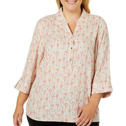Coral Bay Plus Flamingo Button Placket Linen Top