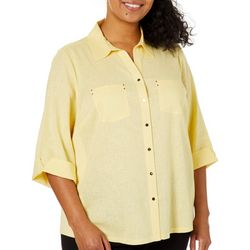 Coral Bay Plus Linen Solid Button Down Top