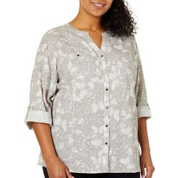 Coral Bay Plus Linen Butterfly Print Roll Tab Top