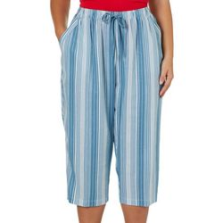 Coral Bay Plus Linen Striped Pull On Capris
