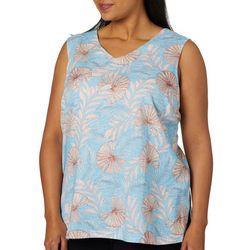Coral Bay Plus Tropical Fan Print Sleeveless Top
