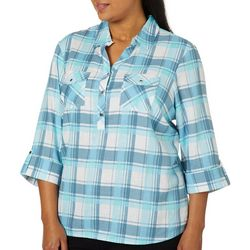 Coral Bay Plus Plaid Button Detail Roll Tab Top