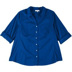 Coral Bay Plus Solid Button Down Shirt