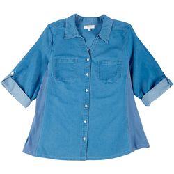 Coral Bay Plus Solid Color Button Down Shirt