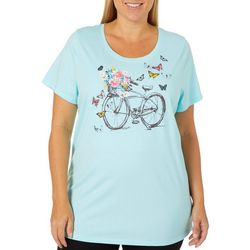 Coral Bay Plus Spring Bicycle Screen Print Top