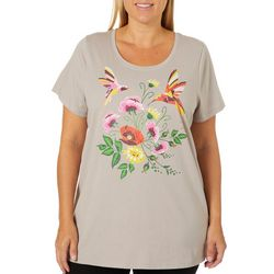 Coral Bay Plus Hummingbird Floral Screen Print Top