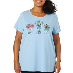 Coral Bay Plus Live Love Life Graphic Short Sleeve Top