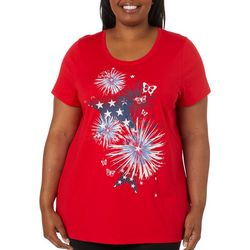 Coral Bay Plus Americana Butterfly Firework Print Top