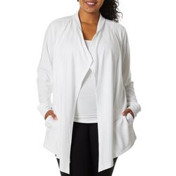 Coral Bay Energy Plus Solid Open Front Cardigan