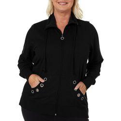 Coral Bay Plus Solid Embellished Grommet Jacket