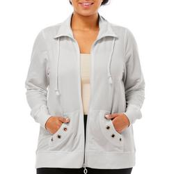 Plus Solid Embellished Grommet Jacket