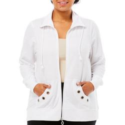 Plus Mock Embellished Grommet Jacket
