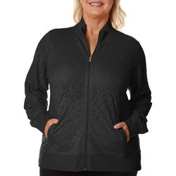 Coral Bay Womens Palm Burnout Textured Jacket