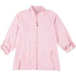 Coral Bay Womens Womens Adjustable Sleeves Zip Up Jacket