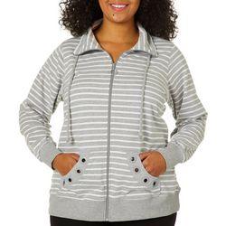 Coral Bay Plus Stripe Print Grommet Jacket