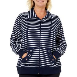 Coral Bay Plus Stripe Print Grommet Jacket