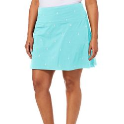 Coral Bay Golf Plus Anchor Print Pull On Skort