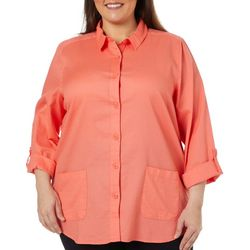 Coral Bay Energy Plus Solid Waffle Knit Button Down Top