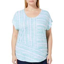 Coral Bay Plus Stripe Print Burnout Top