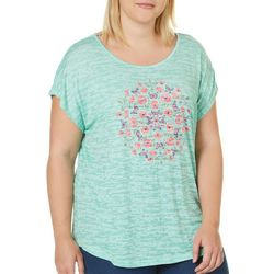 Coral Bay Plus Butterfly Rhinestone Burnout Top