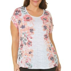 Coral Bay Plus Mirrored Floral Print Top