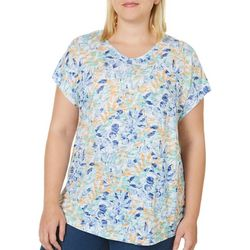 Coral Bay Plus Floral Leaf Print V-Neck Burnout Top