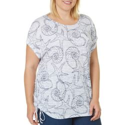 Coral Bay Plus Starfish Print Side Ruched Burnout Top