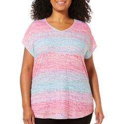 Coral Bay Plus Mixed Diamond Stripe Burnout V-Neck Top