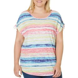 Coral Bay Plus Rainbow Print Sleeve Ruched Burnout Top