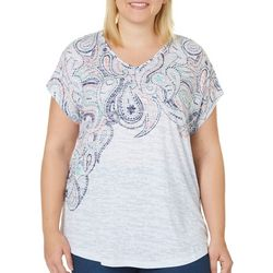 Coral Bay Plus Paisley Print V-Neck Burnout Top