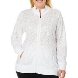 Coral Bay Energy Plus Animal Print Burn Out Zippered Jacket