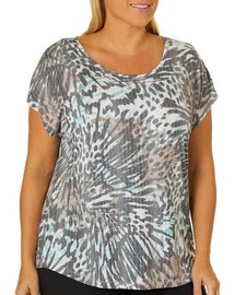 Coral Bay Plus Animal Print Burnout Top