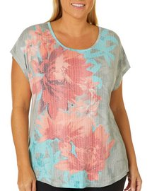 Coral Bay Plus Tropical Floral Burnout Top