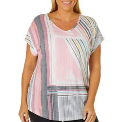 Coral Bay Plus Abstract Stripe Burnout Top