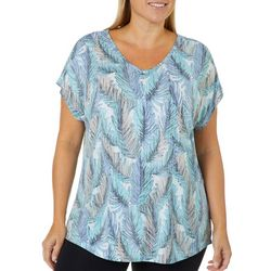Coral Bay Plus Palm Leaf Burnout V-Neck Top