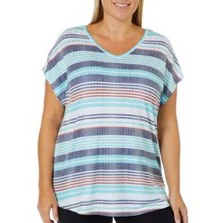 Coral Bay Plus Stripe Embellished Burnout Top