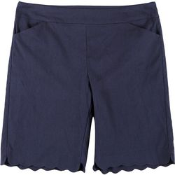 Coral Bay Womens Plus Solid Scalloped Hem Shorts