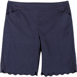 Womens Plus Solid Scalloped Hem Shorts