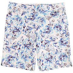 Coral Bay Plus Flowers Scalloped Hem Shorts