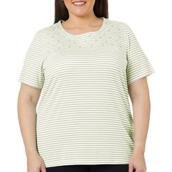 Coral Bay Plus Striped Embroidered Detail Round Neck Top