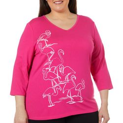 Coral Bay Plus Embellished Flamingo Flock V-Neck Top