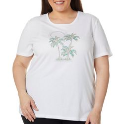 Coral Bay Plus Jewel Embellished Tropical Sunset Top