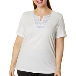 Plus Solid Geo Embroidered Split Neck Top