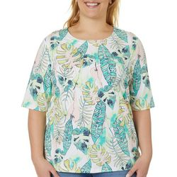 Plus Tropical Palm Print Boat Neckline Top
