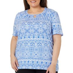 Coral Bay Plus Scroll Print Keyhole Short Sleeve